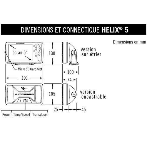 sondeurs GPS Humminbird HELIX 5 chirp HD side imaging